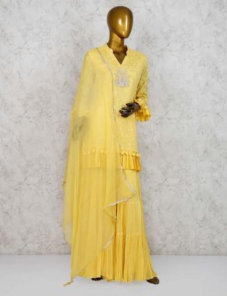 Yellow hue punjabi sharara suit in georgette fabric
