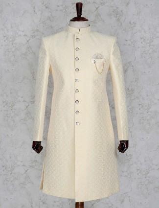 Yellow hue silk fabric wedding indo western