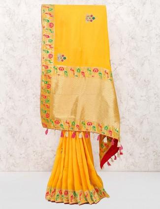 Yellow hue wedding wear cotton saree