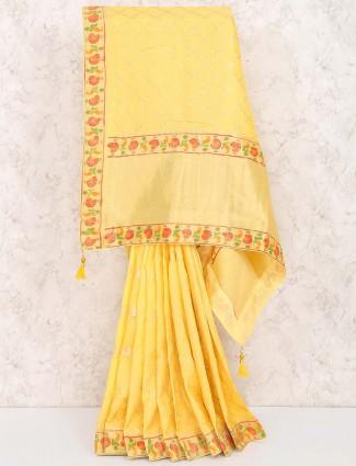 Yellow hue wonderful muga silk saree