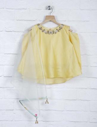 Yellow hued cotton silk fabric lehenga choli