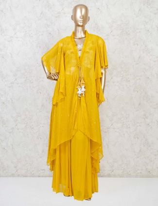 Yellow jecket style designer indo western suit