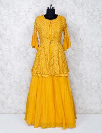 Yellow lehenga suit in georgette