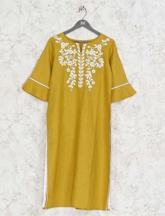 Yellow linen kurti for casual