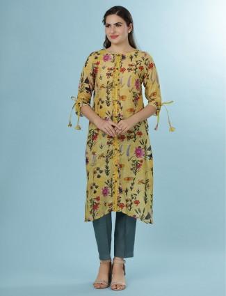 Yellow linen printed latest kurti