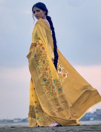 Yellow linen reception wear linen saree