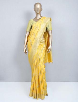 Yellow muga silk designer wedding wear saree