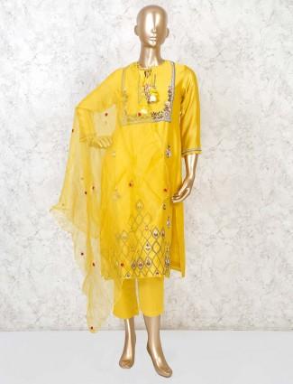 Yellow party function punjabi pant in cotton silk