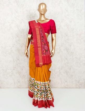 Yellow patola silk saree in wedding