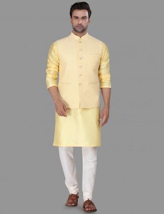 Yellow raw silk waistcoat set for mens