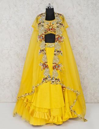 Yellow raw silk wedding function lehenga choli