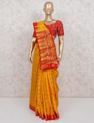 Yellow saree in semi cotton silk for festival