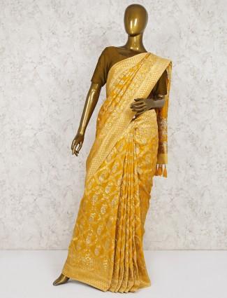 Yellow saree in semi silk fabric fabric