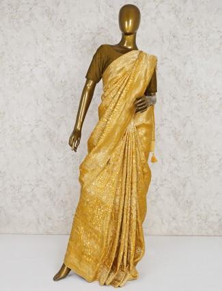Yellow semi silk pretty saree