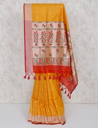 Yellow semi silk saree for festive wear
