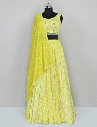 Yellow silk lehenga for reception sessiom