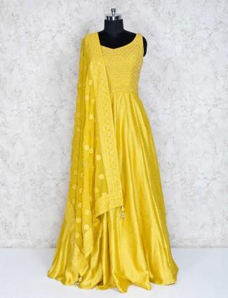 Yellow silk party or wedding wear anarkali suit