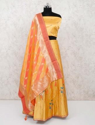 Yellow silk semi stitched lehenga choli in wedding