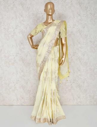 Yellow silk wedding elegant saree