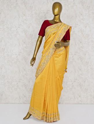 Yellow silk wedding function saree
