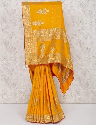 Yellow silk wedding saree