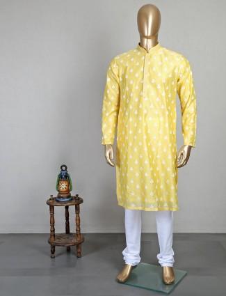 Yellow sober cotton kurta suit for mens