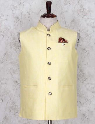 Yellow solid linen fabric waistcoat