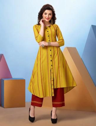 Yellow stripe cotton kurti set