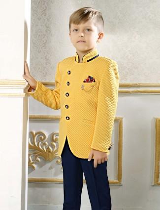 Yellow terry rayon fabric jodhpuri suit