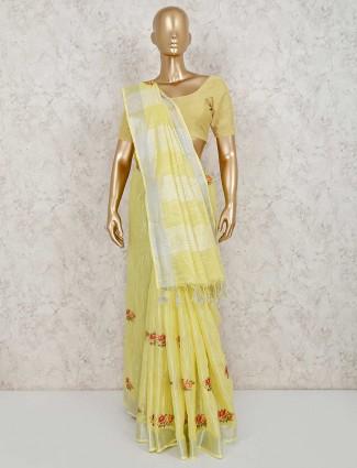 Yellow thread weaving linen saree
