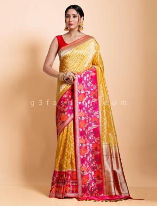 Yellow thread zari woven designer new collection saree in banarasi silk