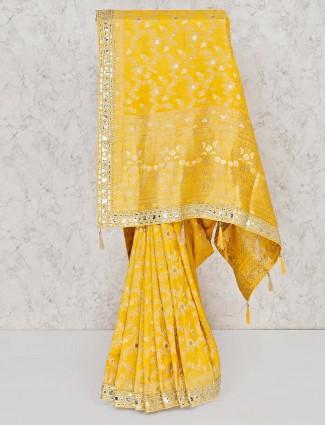 Yellow wedding banarasi silk zari weaving saree