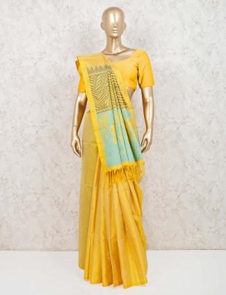 Yellow wedding function saree in pure silk