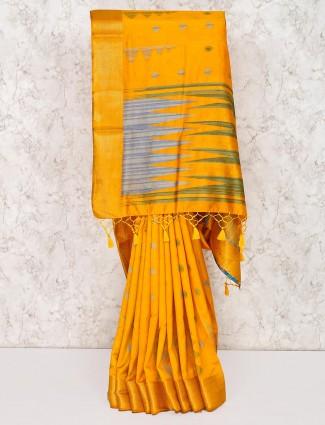 Yellow wedding function saree in semi silk
