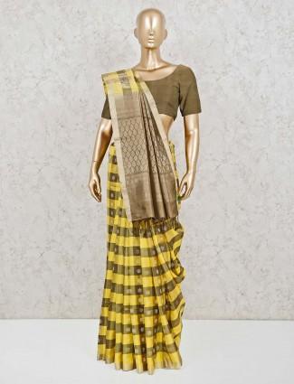 Yellow wedding pure silk zari weaving saree