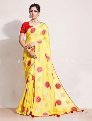 Yellow wedding saree in muga silk