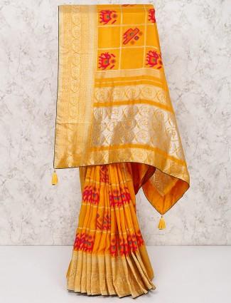 Yellow wedding saree in silk
