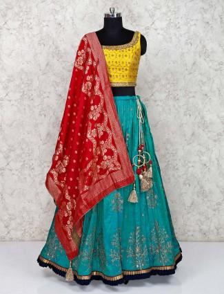 Yellow wedding silk lehenga choli