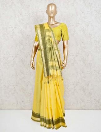 Yellow zari weaving pure silk saree