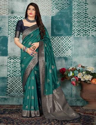 Zari weaving green banarasi silk saree