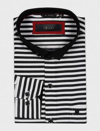 Zillian black and white hue stripe shirt