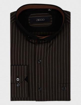 Zillian brown party wear stripe shirt