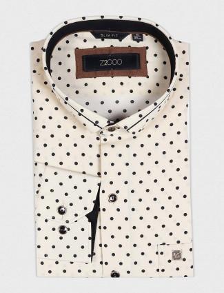 Zillian cream printed party wear shirt