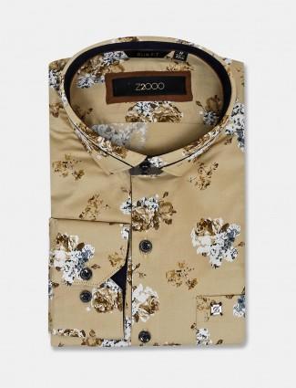 Zillian khaki printed slim collar shirt