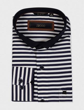 Zillian navy and white stripe cotton shirt