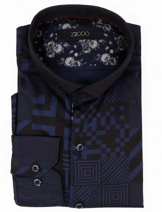 Zillian navy color printed cotton shirt