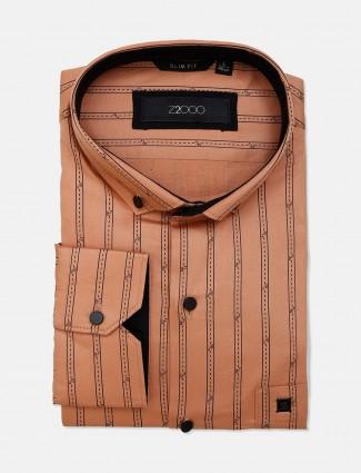Zillian orange stripe cotton mens shirt