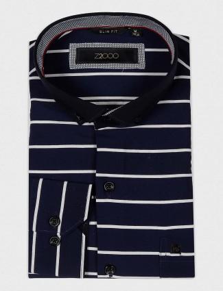 Zillian party wear navy stripe shirt