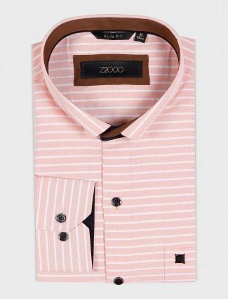 Zillian peach striped mens party wear shirt