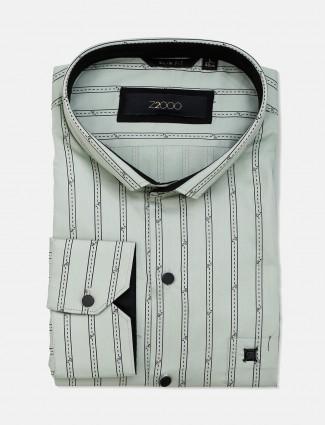 Zillian pista green stripe patern formal shirt